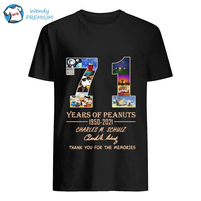 71 years of Peanuts 195-2021 Charles M Schulz thank you for the memories signature shirt